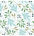 seamless pattern with christmas blue and green vector image vector image