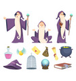 set magician tools and male wizard character vector image