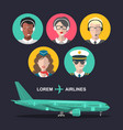 set of airplane and cabin crew and airport vector image