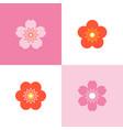 set of cherry blossom and sakura vector image vector image