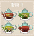 set of different brewed black and green teas vector image vector image