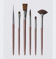 set of realistic brushes for painting vector image vector image