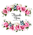 thank you background with beautiful roses vector image vector image