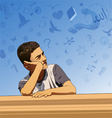 Thinking boy and imagination vector image vector image