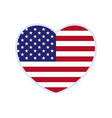 usa flag in a shape heart icon flat heart vector image
