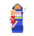 woman at slot machine jackpot casino vector image vector image
