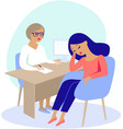 woman having consultation with doctor vector image