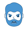 young man face angry expression cartoon vector image