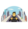 Driver with car wheel ride driving city flat vector image