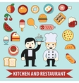 Flat cheaf character and food icons vector image