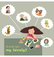 Girl thinks about her relatives vector image