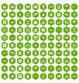 100 pointers icons hexagon green vector image vector image