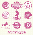 Set Retro Its A Girl Labels and Icons
