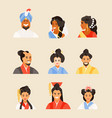 ancient chinese japanese hindu people vector image