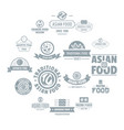 asian food logo icons set simple style vector image