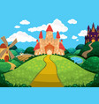 beautiful background with castles pond mill and vector image