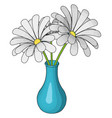 blue vase with flowers on white background vector image