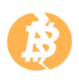 broken bitcoin halftone dotted icon vector image vector image