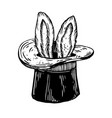 bunny ears in magician hat engraving vector image