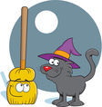 Cartoon Broom and Cat vector image vector image