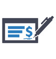 cheque payment bank icon vector image vector image