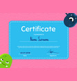 children diploma or certificate with cute vector image vector image