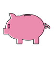 color piggy with save money cash currency vector image vector image