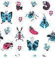 cute cartoon insects seamless pattern beetles and vector image vector image