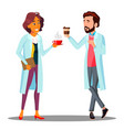 doctor man woman holding a glass of coffee in vector image