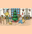 family is decorating tree for christmas vector image vector image