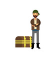 flat cartoon pirate man character standing with vector image