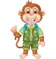 funny brown monkey in green uniform cartoon vector image