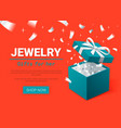 gift box and silver confetti turquoise jewelry vector image