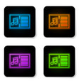 glowing neon music book with note icon isolated vector image