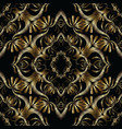 gold baroque embroidered seamless pattern vector image
