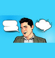 happy young man businessman says cartoon vector image