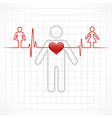 Heartbeat make a male and female symbol stock vec vector image vector image