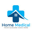 home and medical cross logo design vector image vector image