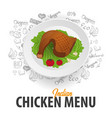 indian chicken menu chicken dish banner with vector image