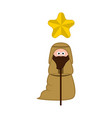 isolated joseph cartoon character christmas vector image vector image