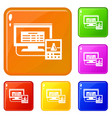 lab digital monitor icons set color vector image vector image