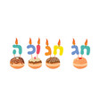 letters made as a candles says happy hanukkah in vector image vector image