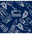 Linear set of icons relating to space exploration vector image vector image