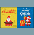 merry christmas inscription santa chimney vector image vector image
