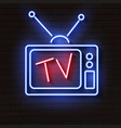 old neon tv with antenna on brick wall vector image