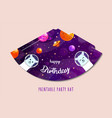 party hats printable space explorer print vector image vector image