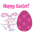 Purple Happy Easter Bunny vector image vector image