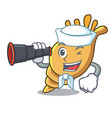 sailor with binocular exotic shell mascot cartoon vector image