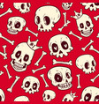 seamless pattern cute doodle skull collection vector image