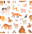 seamless pattern design with cute baby animals vector image vector image